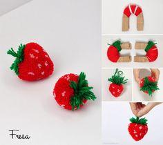 Pompones con forma de fruta