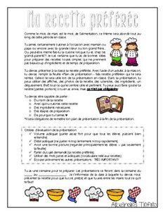 Ma recette préférée - Présentation orale by Alexandra Trifiro | Teachers Pay Teachers