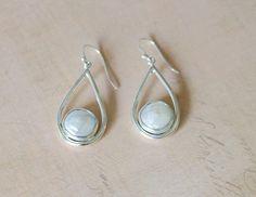 White Coin Pearl Tear Drop Sterling Earrings