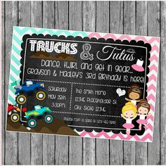 Twin or Sibling Birthday Party Invite - Monster Trucks and Tutus - Chalkboard Invite - DIY Printable File by CreativeKittle on Etsy Twin Birthday Themes, Combined Birthday Parties, Sibling Birthday Parties, Joint Birthday Parties, Twins 1st Birthdays, Girl Birthday, Birthday Ideas, Luau Birthday, Party Invitations Kids