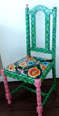 Fabric decoupage, oil cloth, paint and a furniture transformation - all DIY