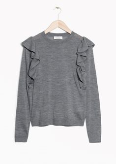 & Other Stories image 1 of Frilled Merino Wool Knit in Grey
