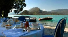 Breakfast by the Lake Annecy at L'Auberge du Père Bise in Talloires, French Alps ✯ ωнιмѕу ѕαη∂у