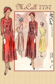 1940s Dress Pattern McCall 7757 Vintage by FloradoraPresents