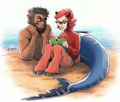 centaur maxie and merman archie--- actually I think Maxie is a Saytr for some reason I find this adorable
