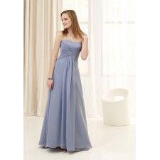 Sheath Strapless Chiffon Long Purple Bridesmaid Dress