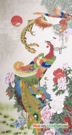 chinese scroll  painting of  phoenix by Wang Na