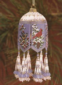 Ornaments take wing - Featured in the August 2001 issue of Bead Magazine… Beaded Ornament Covers, Beaded Ornaments, Holiday Ornaments, Quilted Ornaments, Noel Christmas, Handmade Christmas, Christmas Crafts, Loom Beading, Beading Patterns