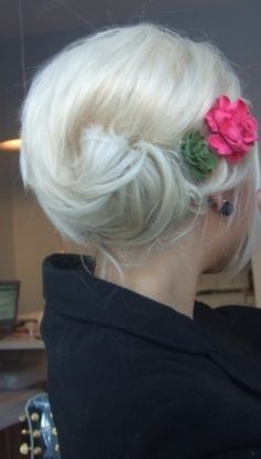 cute and simple updo...without the flowers, please!