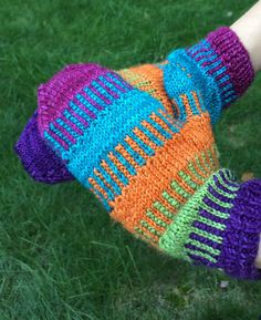 Free Knitting Pattern for Funktastic Mittens - Minuet Knit's colorful mittens also comes with a fingerless mitts option.