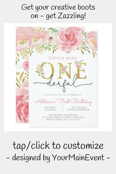 Shop Little Miss ONEderful First Birthday Invitation created by YourMainEvent. Girl Birthday Themes, First Birthday Photos, Girl Themes, Birthday Gifts For Kids, Girl First Birthday, Birthday Roses, Pink Birthday, Make Birthday Invitations, Butterfly Artwork