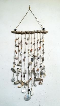 34'' Big Driftwood mobile, mixed sea treasures, seaglass, seashells, driftwood, sea pottery, beach stones, Handmade Wind chime #STG17# http://etsy.me/2Clf6eZ #housewares #homedecor #entryway #seaglassmobile #driftw