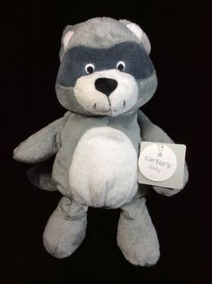"Carters Grey White Raccoon Plush Soft Toy New 10"" Stuffed Lovey Animal #Carters"