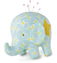 Ollie the Elephant Pincushion kit. Lovely! #HeatherBailey #Crafts