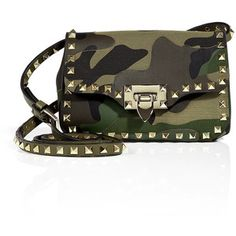 VALENTINO Leather-Canvas Camouflage Rockstud Shoulder Bag