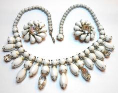 Weiss Vintage Jewelry | Signed Weiss Rhodium Plated Milk Glass & Clear Rhinestone Set c. 50