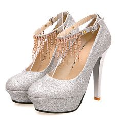 Stiletto High Heels Silver PU Party Ankle Strap Pumps on Luulla Prom Shoes Silver, Silver Heels, Wedding High Heels, Wedding Shoes, Ankle Strap Heels, Ankle Straps, Bling, Fashion Heels, High Heels Stilettos