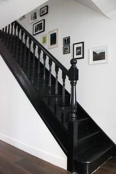 39 Inspiring Painted Stairs Ideas Staircase design, Stairs d. Black Stair Railing, Black Staircase, Staircase Design, Rustic Staircase, Stair Design, Floating Staircase, Grand Staircase, Stair Treads, House Stairs