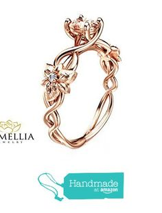 14K Rose Gold Morganite Ring Inspired by Nature Engagement Ring Art Deco Styled Ring from Camellia-Jewelry http://www.amazon.com/dp/B019V8SWPQ/ref=hnd_sw_r_pi_dp_nfdoxb0HQFDR3 #handmadeatamazon