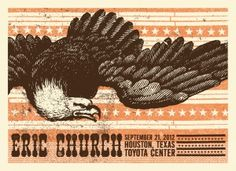 Eric Church, Houston TX 2012 by Status Serigraph. Tour Posters, Music Posters, Eric Church, Music Images, Houston Tx, Country Music, Art Direction, Lion Sculpture, Design Inspiration