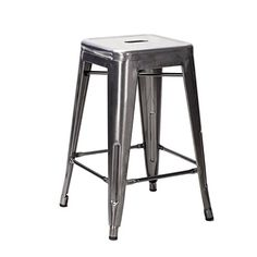 Nicer Furniture  Set of 4 Tolix style Backless Metal Industrial Stack Counter Height Stool Gun Metal ** Want additional info? Click on the image.