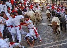 Every year in Pamplona there is an event where people run from bulls in the city