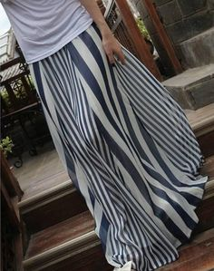 $6.72 Casual Vertical Striped High Waist Skirt For Women