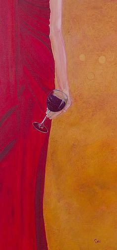 """""""Lady in Red"""" Wine Art by Debi Starr #women&wine #cOrange #cRed"""