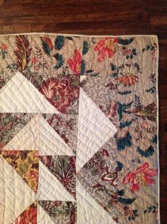 "Antique Chintz Quilt Signed 1852 | eBay seller donebyme; 87"" x 82"", 3 different chintzes, signed by Anna M. Straeffer September 1, 1852. Outer 3.5"" border in green and red floral on almost metallic gold & cream background, quilting stitches vary, perhaps, done by several people, about 8 stitches per inch"