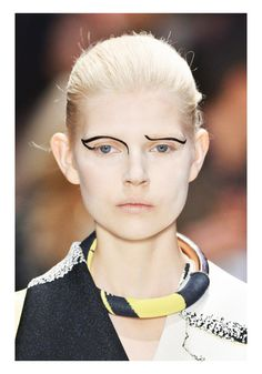 Wicked wavy brows... Ola Rudnicka @ Celine Spring / Summer 2014