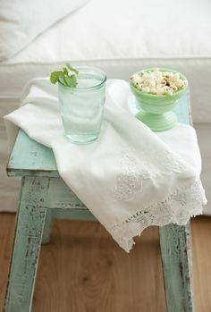 I adore the weathered, pale aqua hued of this subtly shabby chic little table. #table #aqua #shabby #chic #cottage #beach #summer #home #decor