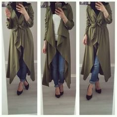 Waterfall olive cardigan-How to style the olive green outfits with hijab – Just Trendy Girls Modern Hijab Fashion, Arab Fashion, Muslim Fashion, Islamic Fashion, Modest Fashion, Hijab Chic, Stylish Hijab, Olive Green Outfit, Green Outfits