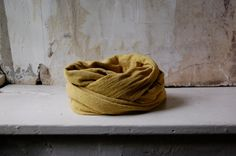 mustard scarf organic cotton hemp jersey naturally hand dyed