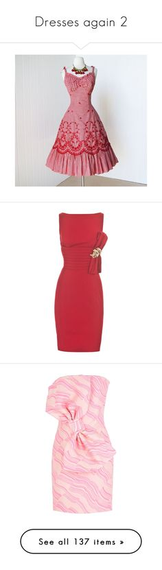 """""""Dresses again 2"""" by thesassystewart on Polyvore featuring alix, dresses, cocktail dresses, vestidos, knee length cocktail dresses, red pencil dress, red cocktail dress, embroidered shift dress, knee length dresses and moschino"""