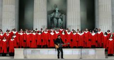 """BRUCE SPRINGSTEEN is joined by a choir as he performs """"The Rising"""" in front of the Lincoln Memorial during the """"We Are One: The Obama Inaugural Celebration At The Lincoln Memorial"""" on the National Mall in Washington on Jan, 2009."""