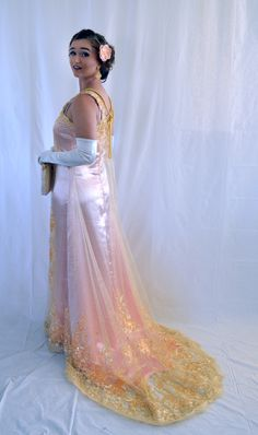 Downton Abbey inspired prom gown.  Handmade, 2016 Peach undergown, gold embroidered and beaded tulle overgown, 1920's gown, fingerwaves, lace over peach gown, hand beaded lace, gold and peach, gold gown, prom gown