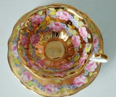 Vintage Regency Gold Gilt and Pink Rose Teacup by TheBountifulBird