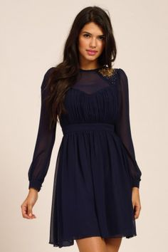 9301b29527eb5 Little Mistress Navy  amp  Gold Embellished Long Sleeve Fit  amp  Flare  Dress Fit And