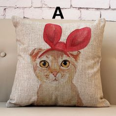 Cute pink cat linen pillow for home decoration