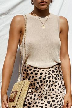 leopard midi skirt with a simple beige summer sweater #summer #outfits