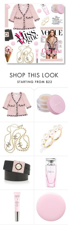"""vOGUE"" by dorachelariu ❤ liked on Polyvore featuring Chanel, Mally, BaubleBar, Balmain, Vichy, Nails Inc., women's clothing, women, female and woman"