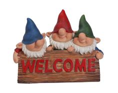 Playful Three Gnomes with Welcome (2)