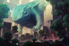 Colossal Creatures Intrude Cities in These Fantastic Illustrations by 'kakotomirai' (2)