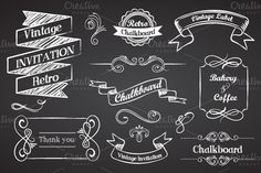 Chalboard Vintage Ribbons ~~ Vector Chalkboard vintage ribbons and graphic elements  Eps 10