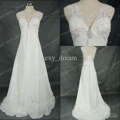 Or simple like this??  Wholesale Custom Made 2012 NEW Beaded White Off the shoulder Empire Court Chiffon Fabric Wedding Dresses 3167, Free shipping, $111.18-138.0/Piece | DHgate