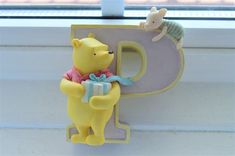 """Classic Winnie the Pooh Piglet Alphabet Letter """"P"""" Michel & Co. P For Present, Winnie the Pooh Figurines Disney Winnie The Pooh Figurines, Pooh Bear, Vintage Home Decor, Baby Room, Alphabet, My Etsy Shop, Presents, Wall Decor, Lettering"""