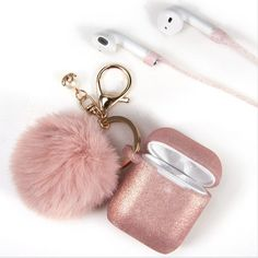 Airpod Case with Fur Ball Keychain for Airpod 1 Airpod 2 Personalized Gift Cute Air pod Case Glitter Sparkly Bling Air pod Skin Cover case - Airpods Fone Apple, Apple Airpods 2, Cute Cases, Cute Phone Cases, Iphone Cases, Accessoires Iphone, Air Pods, Airpod Case, Iphone Accessories