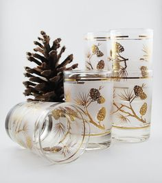 Mid Century Frosted Gold Pinecone Double Shot Glasses Set of Six 1950's-60's