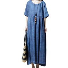 3a2d21138d DongDong Women Plus Size Pure Color FolkCustom Short Sleeve Loose Long  Section Dress     Want additional info  Click on the image.