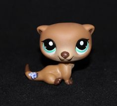 Littlest Pet Shop LPS Tan & Brown Sea OTTER #1609 Blue Green Eyes weasel RARE #Hasbro